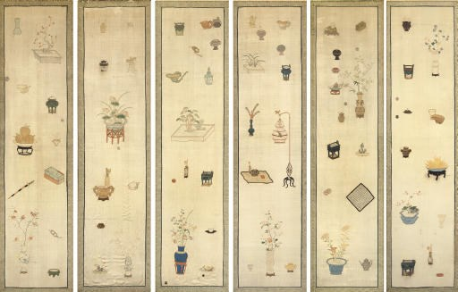 A SET OF SIX EMBROIDERED PANEL