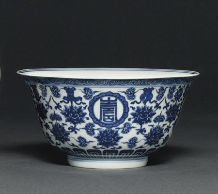 A BLUE AND WHITE 'BUDDHIST EMB