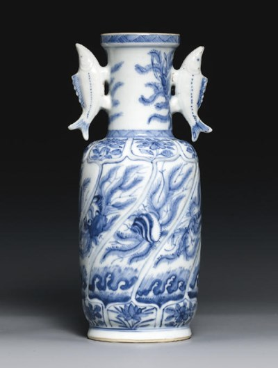 A RARE BLUE AND WHITE TWO-HAND