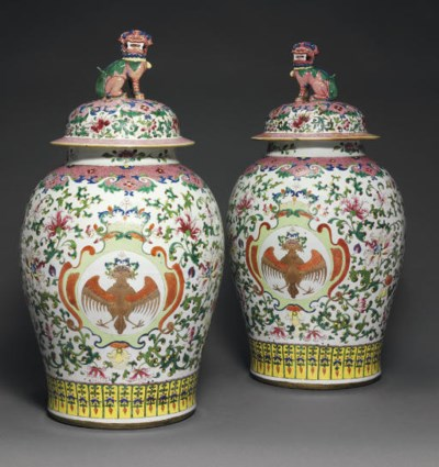 A PAIR OF RARE LARGE FAMILLE R