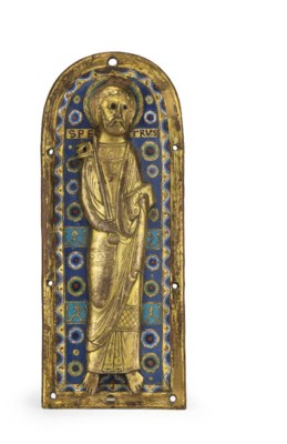 A GILT-COPPER AND ENAMEL RELIE