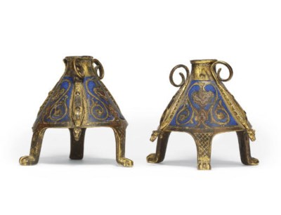 A PAIR OF GILT-COPPER AND ENAM