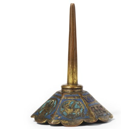 A GILT-COPPER AND ENAMEL PRICK