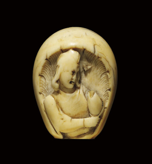 A CARVED IVORY FINIAL, PROBABL