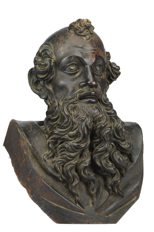 A CARVED WOOD BUST OF A MALE S