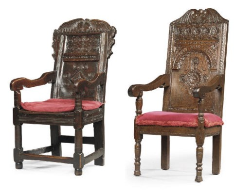 TWO ENGLISH OAK ARMCHAIRS
