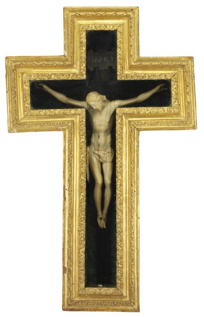 A CARVED IVORY AND GILT-WOOD C