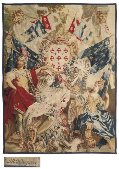 A LOUIS XV ARMORIAL TAPESTRY