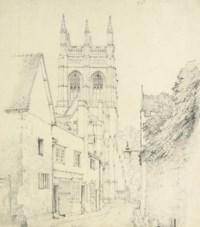 View down Magpie Lane towards Merton College chapel, Oxford.