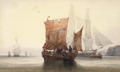 Fishermen mooring in a calm