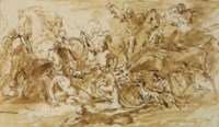 Study for 'Alexander III, King of Scotland, rescued from the fury of a stag by Colin Fitzgerald'
