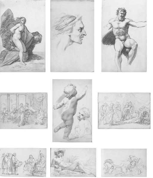 A sketchbook of eighty-one drawings, including An expressive male head (illustrated b); Study of a draped female nude; Profile of a bearded man; Profile of a man, possibly taken from a Roman bust; Profile of a bearded man, possibly taken from a Greek statue; Three figures in Renaissance costume; Life study for a standard-bearer; A draped male nude seen from behind; A reclining river nymph (illustrated e); Two life studies of a draped female nude; A muscular male nude (illustrated c); A male nude seated on a step; A seated female nude wearing a hair net; Profile of a young girl in prayer; Cupid; David playing the harp; Study of a woman's arm; A seated male nude holding a thunderbolt; Life study of a female nude in a Mannerist pose; A reclining male nude; Two seated male nudes in Classical costume; Andromeda (illustrated a); Sketch of a reclining female nude; Composition study for 'The Rape of Persephone' (illustrated i); Two male figures in Biblical drapery; Composition study for 'Hector parting from Andromache and Astyanax'; Life study of a seated male nude; Designs for hairstyles for 'Juno presenting the Cestus to Venus'; The infant Hercules strangling the serpent; Studies for 'The Resurrection' (recto and verso); Studies of shoulder muscles; Composition study with labourers and a wagon in a barn; Study of cattle; Study of two infants and two grotesque heads; Petitioners appealing to a lord (illustrated g); Venus and Cupid; Four life studies of a seated female nude; A cloaked, seated Native American warrior; Life study of a seated male nude; Philosophers disputing; Study of a doorway; Seven studies of écorché limbs; Two composition studies showing a robed, chained figure in a hall before a judge; A young woman in the presence of a ruler; Study of a putto (illustrated e); Two sheets of studies of figures in contemporary dress; Narcissus; A robed, bearded figure, possibly an Apostle; Narcissus and Echo; Sketch of Narcissus; Two classical male figures in an interior [half the page has been excised]; 'Noli me tangere'; Esther before Ahasuerus; A kneeling female figure; Study for 'The Death of Epaminondas' (illustrated f); Two composition studies for pastoral scenes; A Roman orator addressing troops before a temple; Study for 'Hector parting from Andromache and Astyanax'; Sketch of a sacked city, possibly Troy; Aphrodite bringing Helen to Paris (illustrated d); Study of two figures, probably for 'Rinaldo and Armida'; A young man fording a river with two horses; Venus requesting armour for Aeneas from Vulcan; Composition study of Thetis supplicating Zeus; and Head of a bearded man