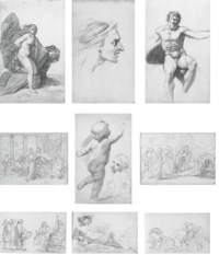 A sketchbook of eighty-one drawings, including An expressive male head (illustrated b); Study of a draped female nude; Profile of a bearded man; Profile of a man, possibly taken from a Roman bust; Profile of a bearded man, possibly taken from a Greek statue; Three figures in Renaissance costume; Life study for a standard-bearer; A draped male nude seen from behind; A reclining river nymph (illustrated e); Two life studies of a draped female nude; A muscular male nude (illustrated c); A male nude seated on a step; A seated female nude wearing a hair net; Profile of a young girl in prayer; Cupid; David playing the harp; Study of a woman's arm; A seated male nude holding a thunderbolt; Life study of a female nude in a Mannerist pose; A reclining male nude; Two seated male nudes in Classical costume; Andromeda (illustrated a); Sketch of a reclining female nude; Composition study for 'The Rape of Persephone' (illustrated i); Two male figures in Biblical drapery; Composition study for 'Hector parting from Andromache and Astyanax'; Life study of a seated male nude; Designs for hairstyles for 'Juno presenting the Cestus to Venus'; The infant Hercules strangling the serpent; Studies for 'The Resurrection' (recto and verso); Studies of shoulder muscles; Composition study with labourers and a wagon in a barn; Study of cattle; Study of two infants and two grotesque heads; Petitioners appealing to a lord (illustrated g); Venus and Cupid; Four life studies of a seated female nude; A cloaked, seated Native American warrior; Life study of a seated male nude; Philosophers disputing; Study of a doorway; Seven studies of écorché limbs; Two composition studies showing a robed, chained figure in a hall before a judge; A young woman in the presence of a ruler; Study of a putto (illustrated e); Two sheets of studies of figures in contemporary dress; Narcissus; A robed, bearded figure, possibly an Apostle; Narcissus and Echo; Sketch of Narcissus; Two classical male figures in an interior [