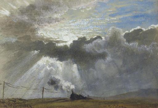 A steam train and telegraph wires beneath a sunburst
