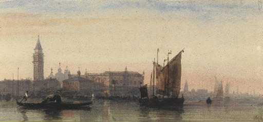 View of the Doge's Palace and the campanile, with the domes of St Mark's beyond, Venice