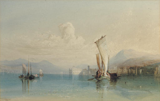 View of Lago Maggiore with shipping in the foreground