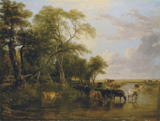 A Woody River Scene, with Cows Watering