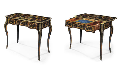 AN EARLY VICTORIAN ORMOLU-MOUNTED EBONY, HOLLY, HAREWOOD AND FRUITWOOD, MARQUETRY AND MOTHER-OF-PEARL WRITING-TABLE