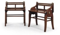 A MATCHED PAIR OF LATE VICTORIAN WALNUT HALL BENCHES