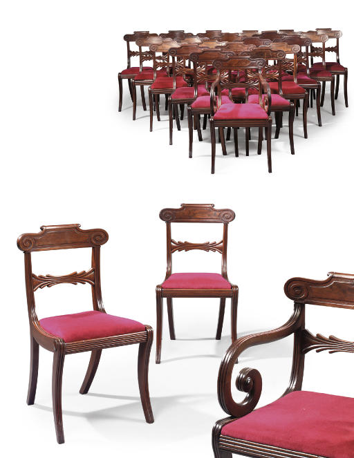 A MATCHED SET OF TWENTY-FOUR REGENCY MAHOGANY DINING-CHAIRS