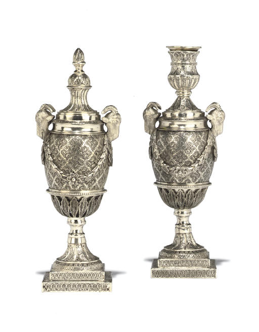 A PAIR OF SILVER FILIGREE 'GOAT'S HEAD VASE' CASSOLETTES