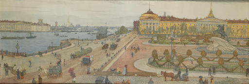 Panorama of St Petersburg with Falconet's Bronze Horseman