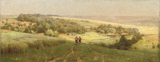 Two figures approaching a village nestled in a valley