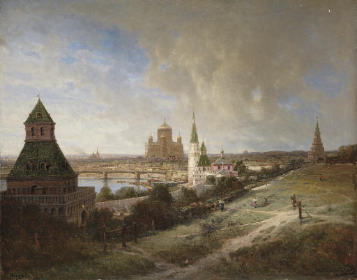 Moscow. View of the Cathedral of Christ the Saviour from the Kremlin