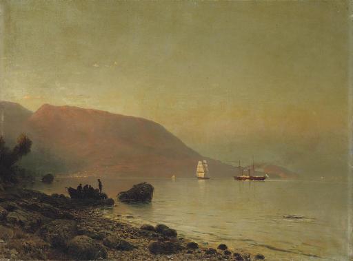 Fishermen on a rocky coastline
