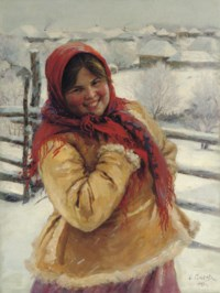 A peasant girl in a red headscarf