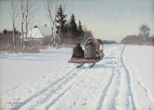 A sleigh returning to the farmstead