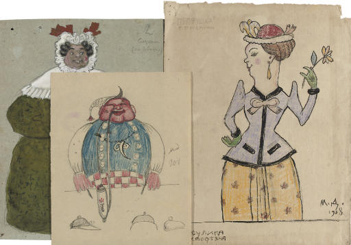 A folder comprising forty-five costume designs (1930-1937); A set of thirty-three designs for playing cards, correspondence (2 pp.) and notes (1 p.); and A set of seventeen theatrical designs comprising Macbeth (9 pp.), Petrushka (2 pp.) and others (6 pp.)