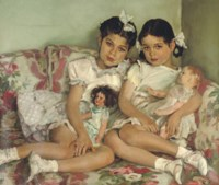 Portrait of two young girls with dolls