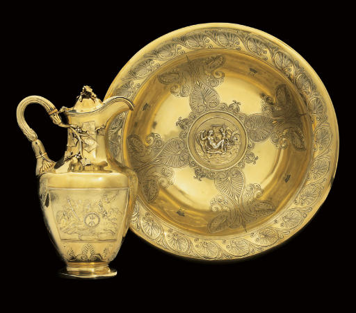 LOUISA, VISCOUNTESS BERESFORD'S TOILET SERVICE A WILLIAM IV SILVER-GILT EWER AND BASIN