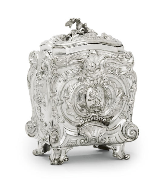A GEORGE II SILVER TEA-CADDY
