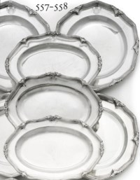 A SET OF EIGHT GEORGE II SILVER SECOND COURSE-DISHES FROM THE HARCOURT SERVICE