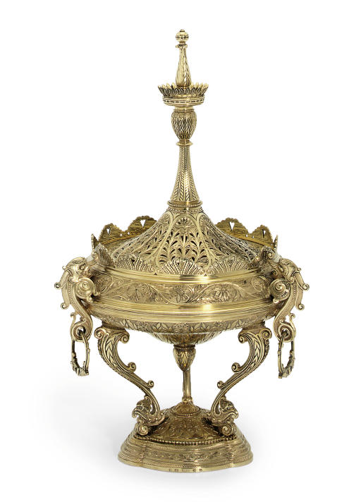 A VICTORIAN SILVER PASTILLE BURNER AND COVER