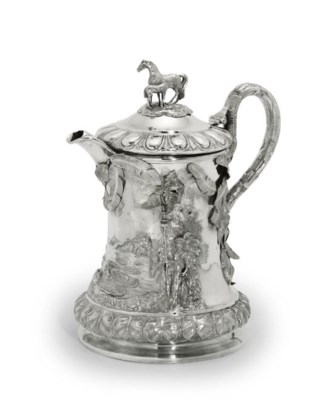 A LARGE VICTORIAN SILVER FLAGO