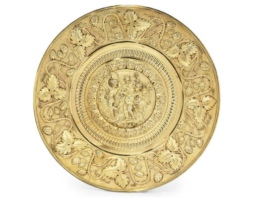 A GEORGE III SILVER-GILT CHARGER