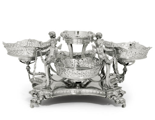 A CONTINENTAL SILVER TABLE-CEN