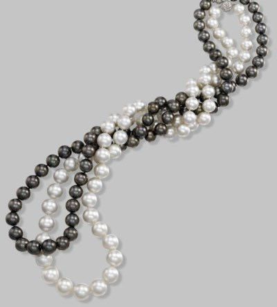 TWO CULTURED PEARL SINGLE-ROW