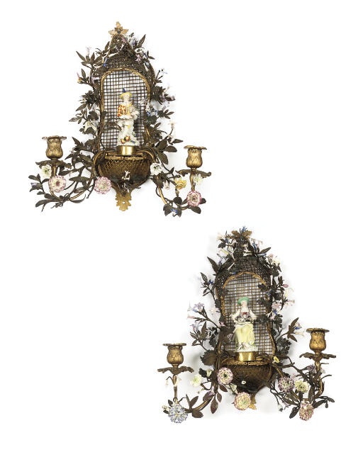 A PAIR OF LOUIS XV ORMOLU AND MEISSEN PORCELAIN TWIN-BRANCH WALL-LIGHTS