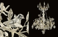 A FRENCH ORMOLU AND SILVERED-METAL, ROCK CRYSTAL AND MOULDED GLASS EIGHT-LIGHT CHANDELIER