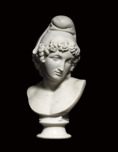 A CARVED MARBLE BUST OF PARIS