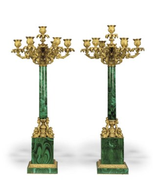 A PAIR OF RUSSIAN ORMOLU AND M