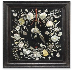 A DUTCH ENGRAVED MOTHER-OF-PEARL-INLAID TOUCHSTONE PANEL