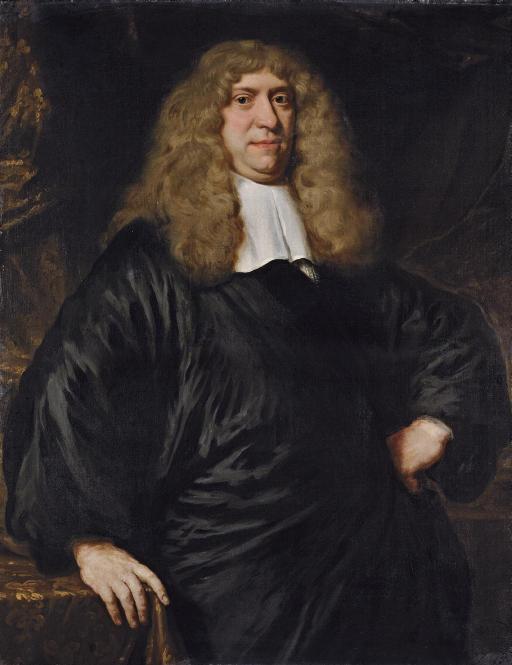 Portrait of Guilliam Dircksz. van Bleijswijk (1621-1701), three-quarter-length, in a black robe and lace collar