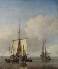 A hoeker and a fishing buss at anchor in a calm