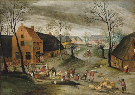 La Fête du cochon: A wooded winter village landscape with peasants slaughtering pigs