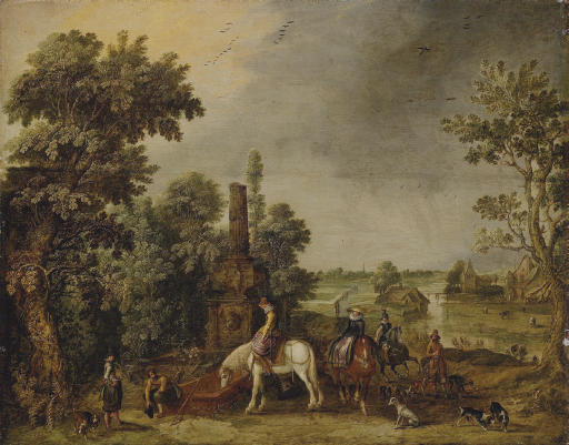 An extensive landscape with a hunting party halting by a classical fountain